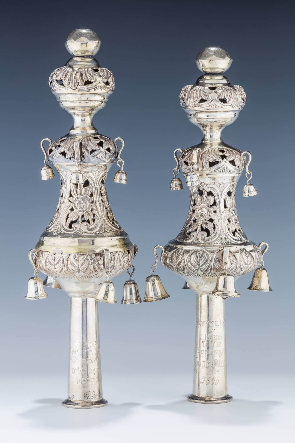 089. A PAIR OF SILVER TORAH FINIALS BY SHMUEL SKARLAT