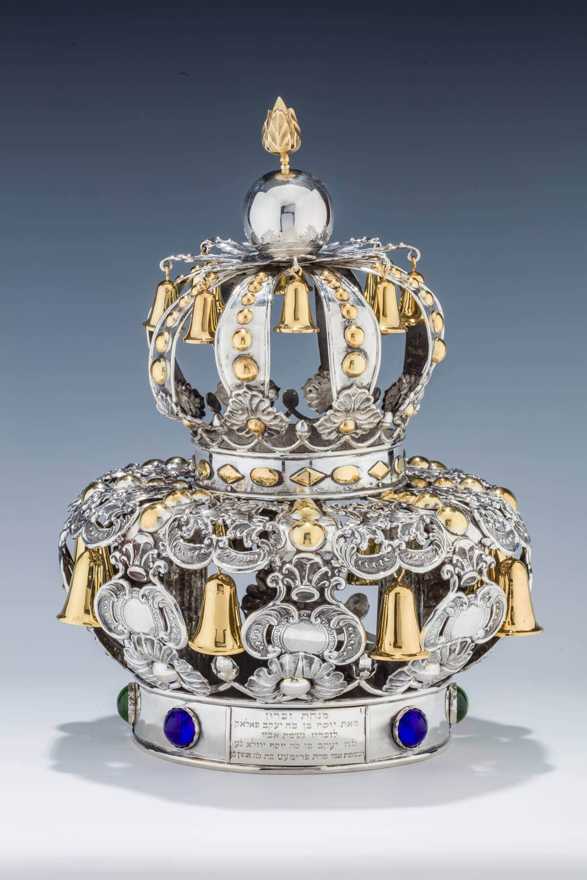 103. A LARGE SILVER TORAH CROWN BY JAC