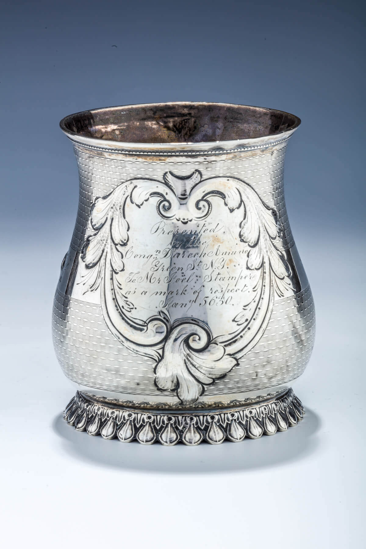 052. AN EARLY COIN SILVER CUP FROM CONGREGATION DARECH AMUNO