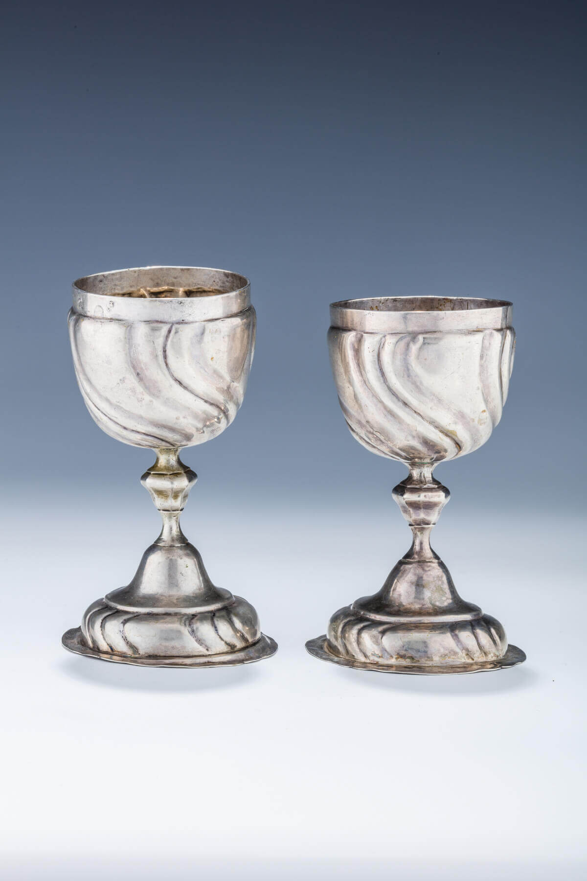 056. A PAIR OF LARGE SILVER KIDDUSH OR WEDDING GOBLETS