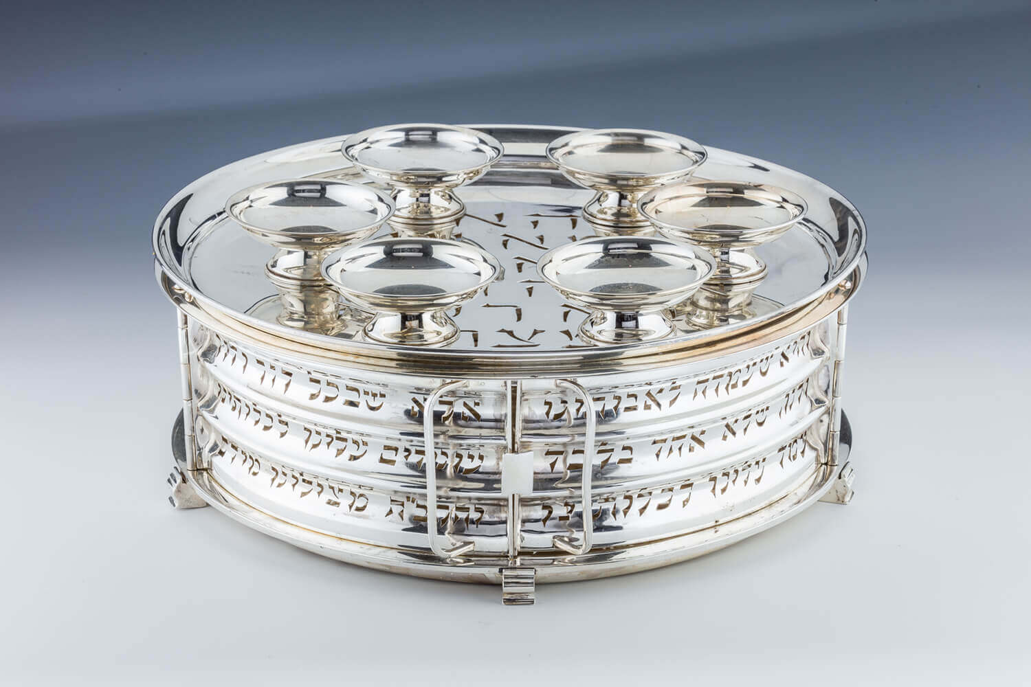 123. A LARGE STERLING SILVER SEDER EQUIPAGE BY LUDWIG WOLPERT
