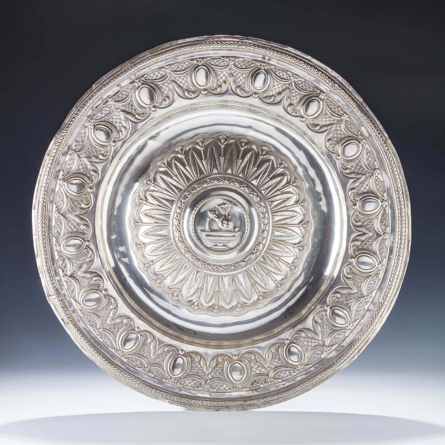 105. A LARGE SILVER BASIN TRAY BY ANDREA STUARDI