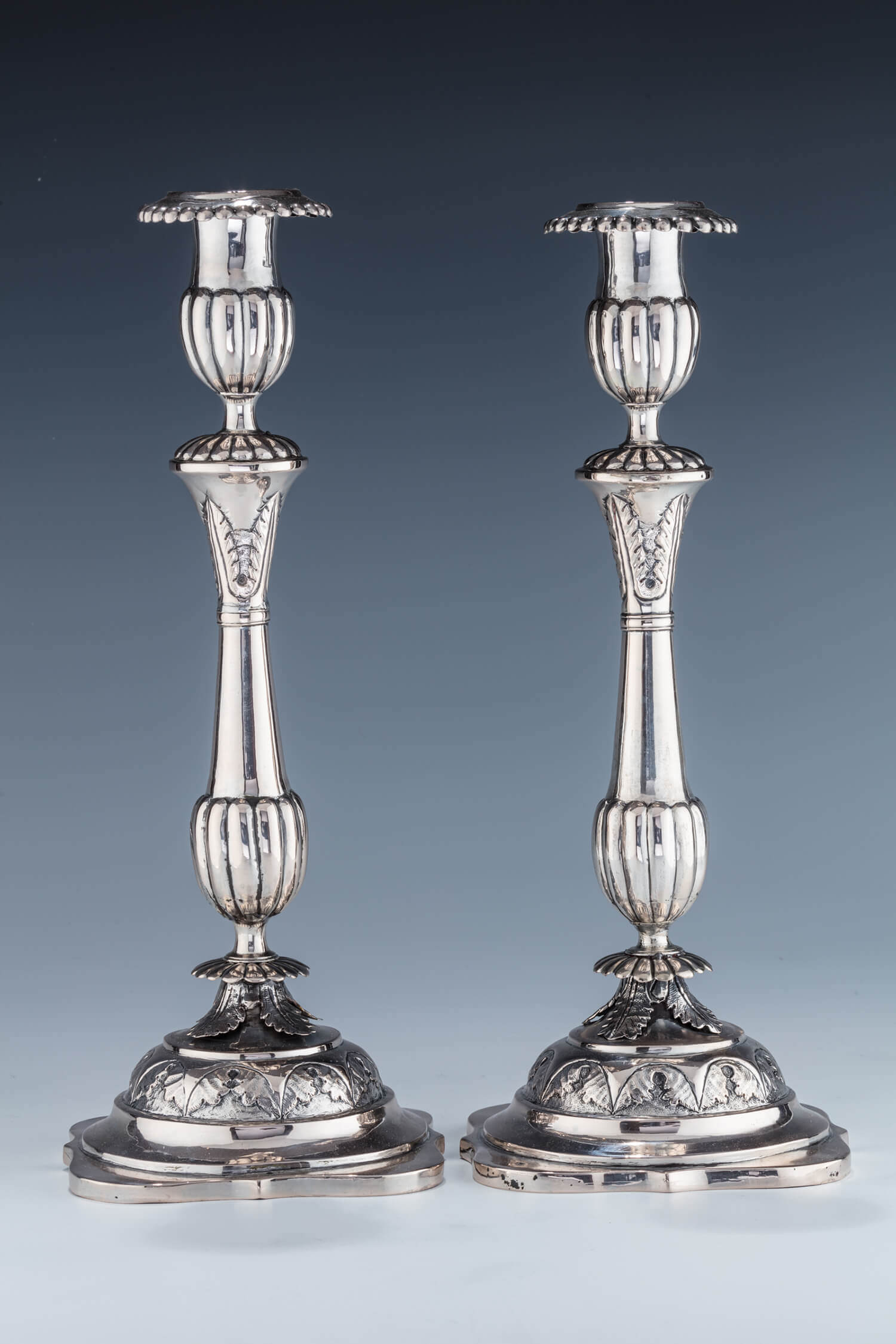 026. A MONUMENTAL PAIR OF EARLY POLISH SILVER SABBATH CANDLESTICKS