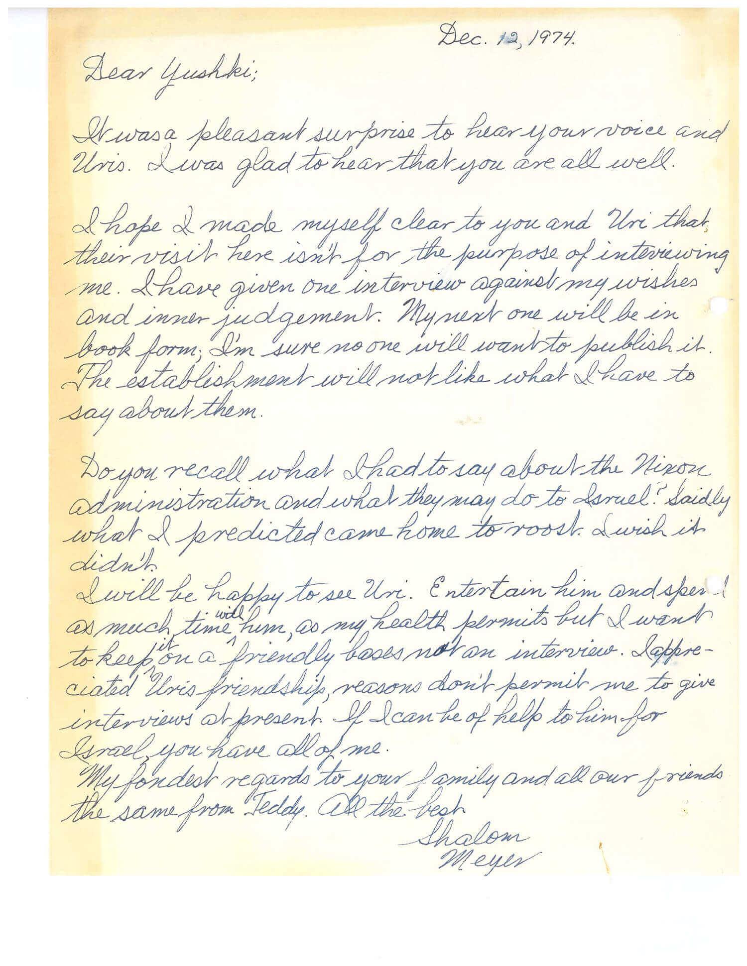 """153. A SIGNED LETTER FROM MEYER LANSKY TO JOSEPH """"YUSHKI"""" SHEINER"""