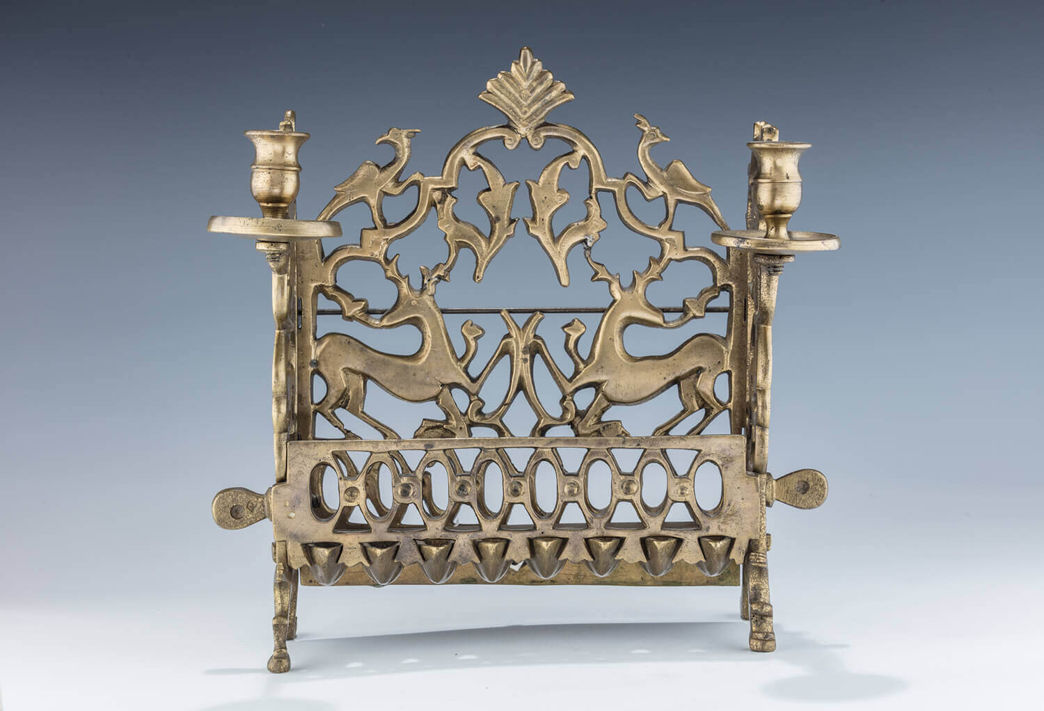 063. A LARGE BRASS HANUKKAH LAMP