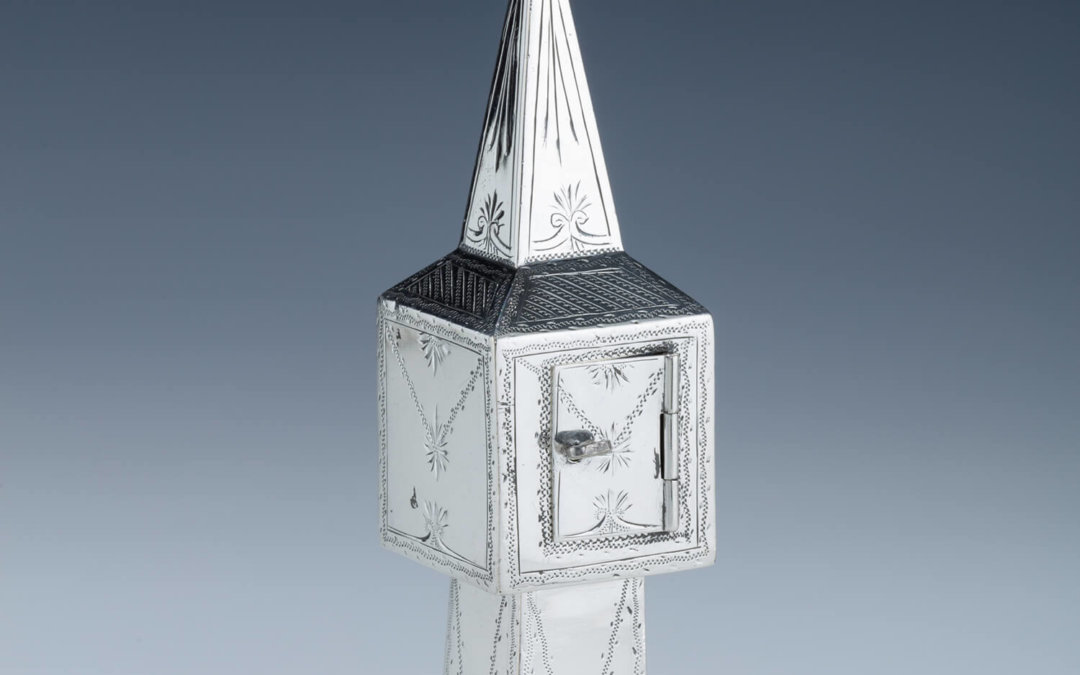 004. A STERLING SILVER SPICE TOWER BY BRITTON, GOULD AND COMPANY