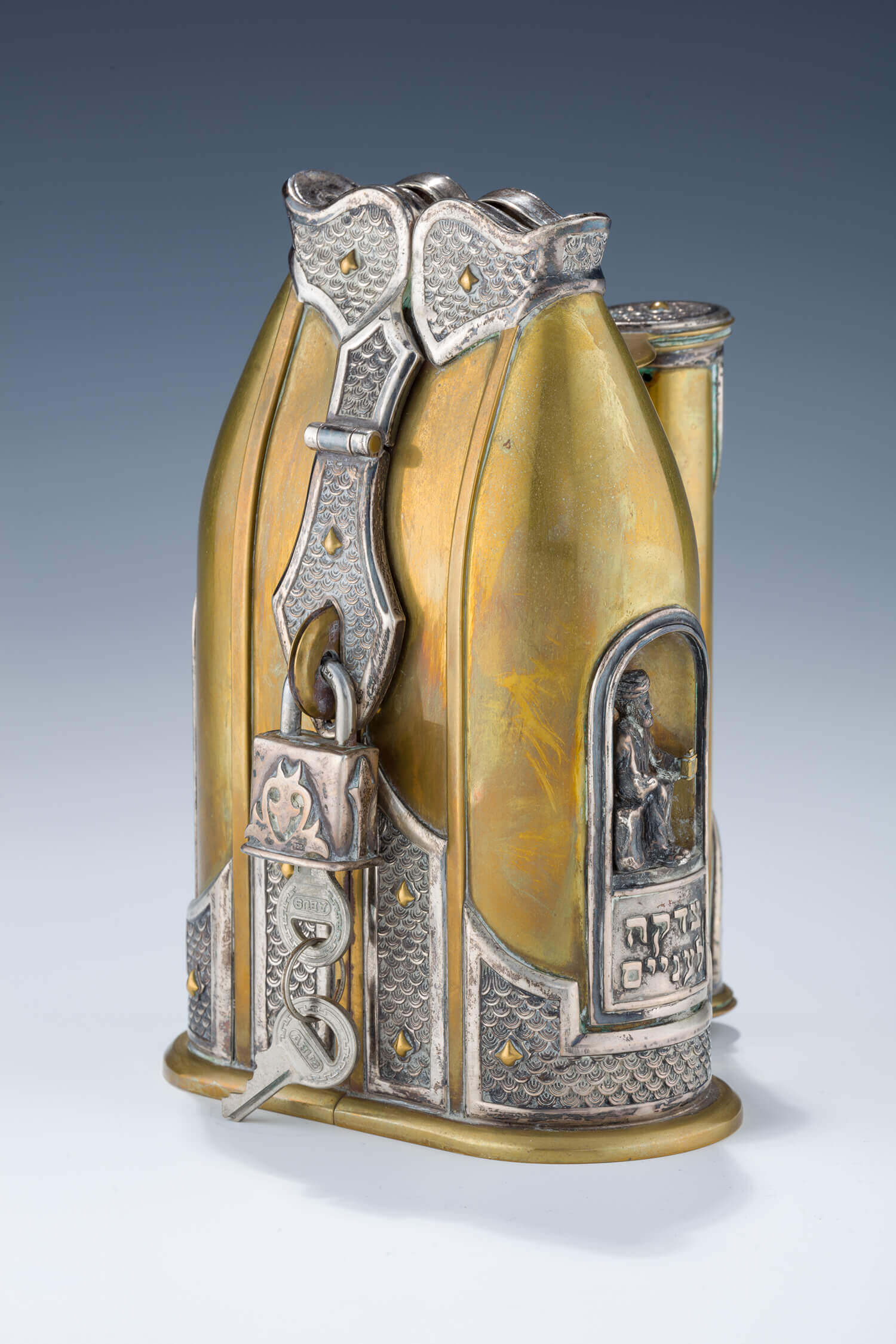 099. A LARGE STERLING AND BRASS CHARITY BOX BY DUDEK SWED
