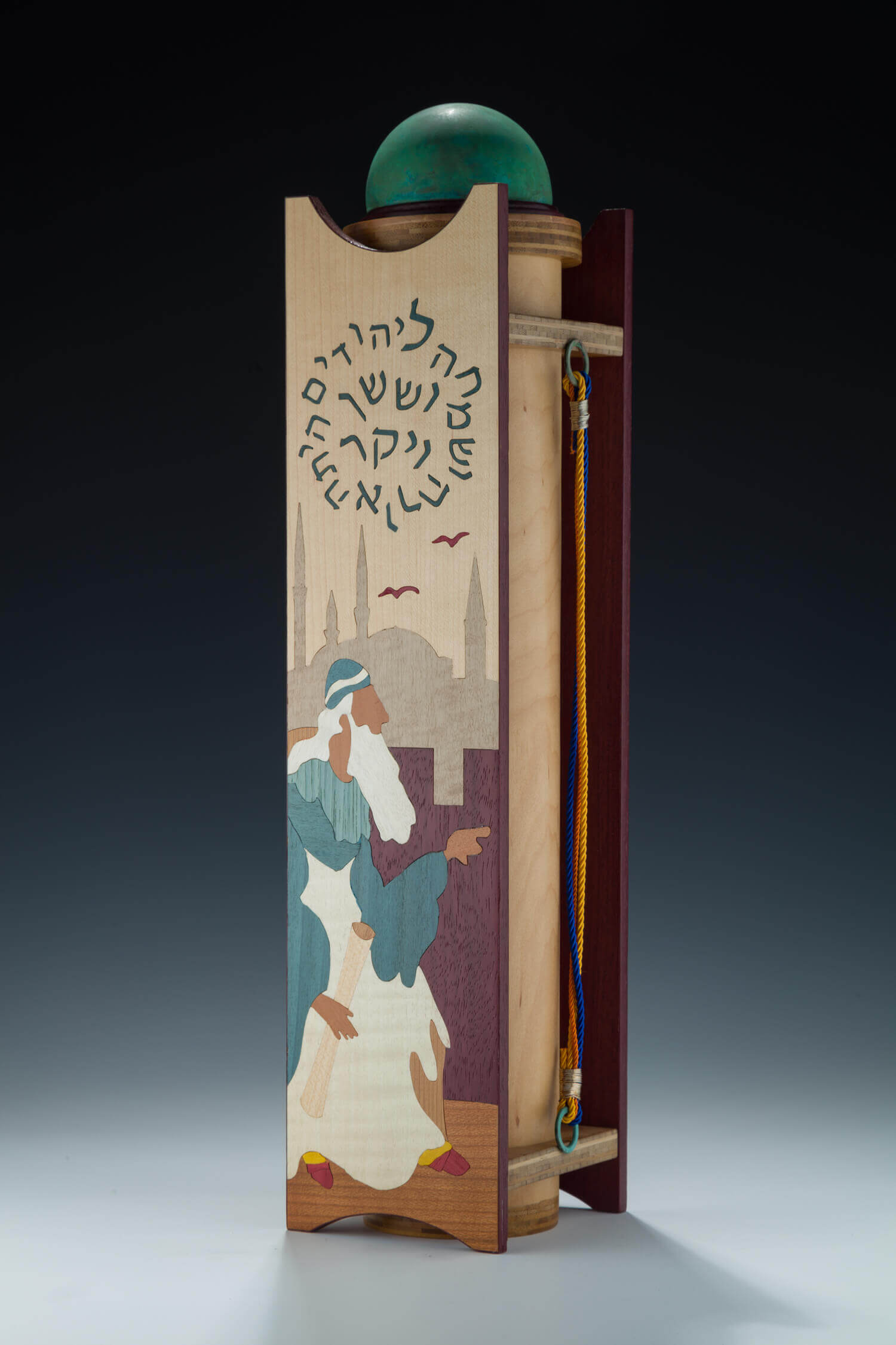 102. A LARGE INLAID WOOD MEGILLAH CASE BY ALEXANDER AND LORELEI GRUSS