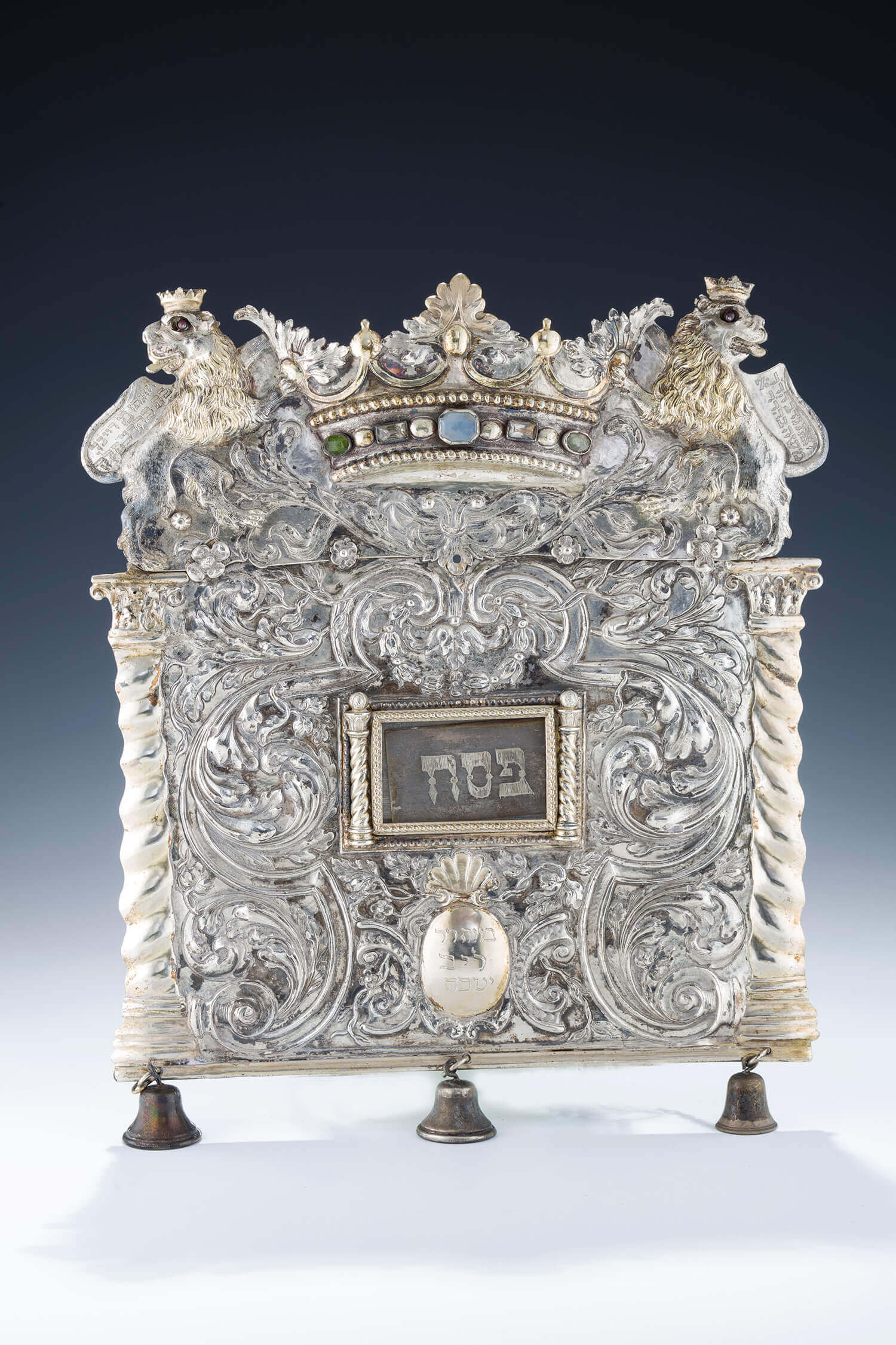 073. A MONUMENTAL SILVER TORAH SHIELD
