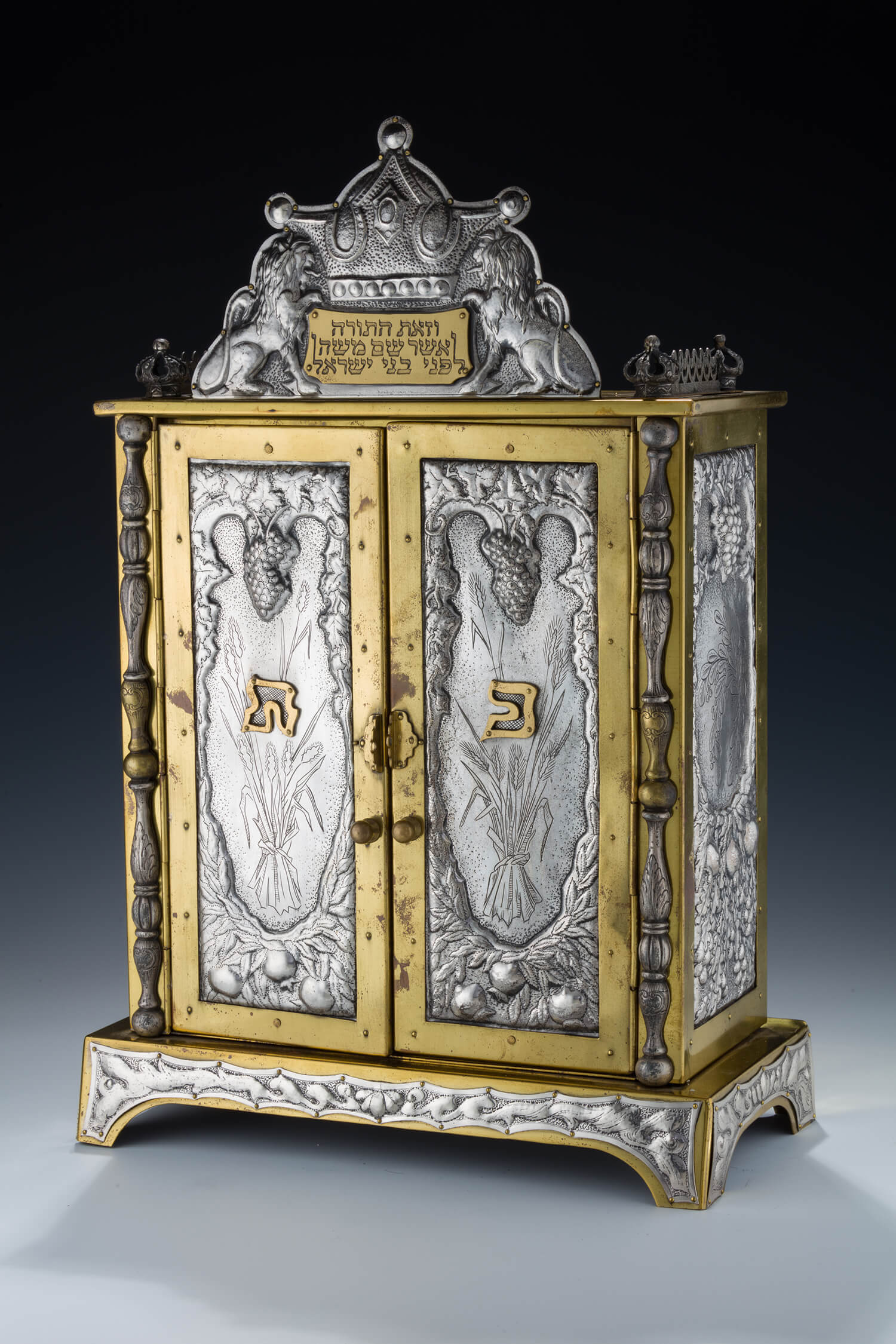 101. A STERLING SILVER AND BRASS ARON KODESH