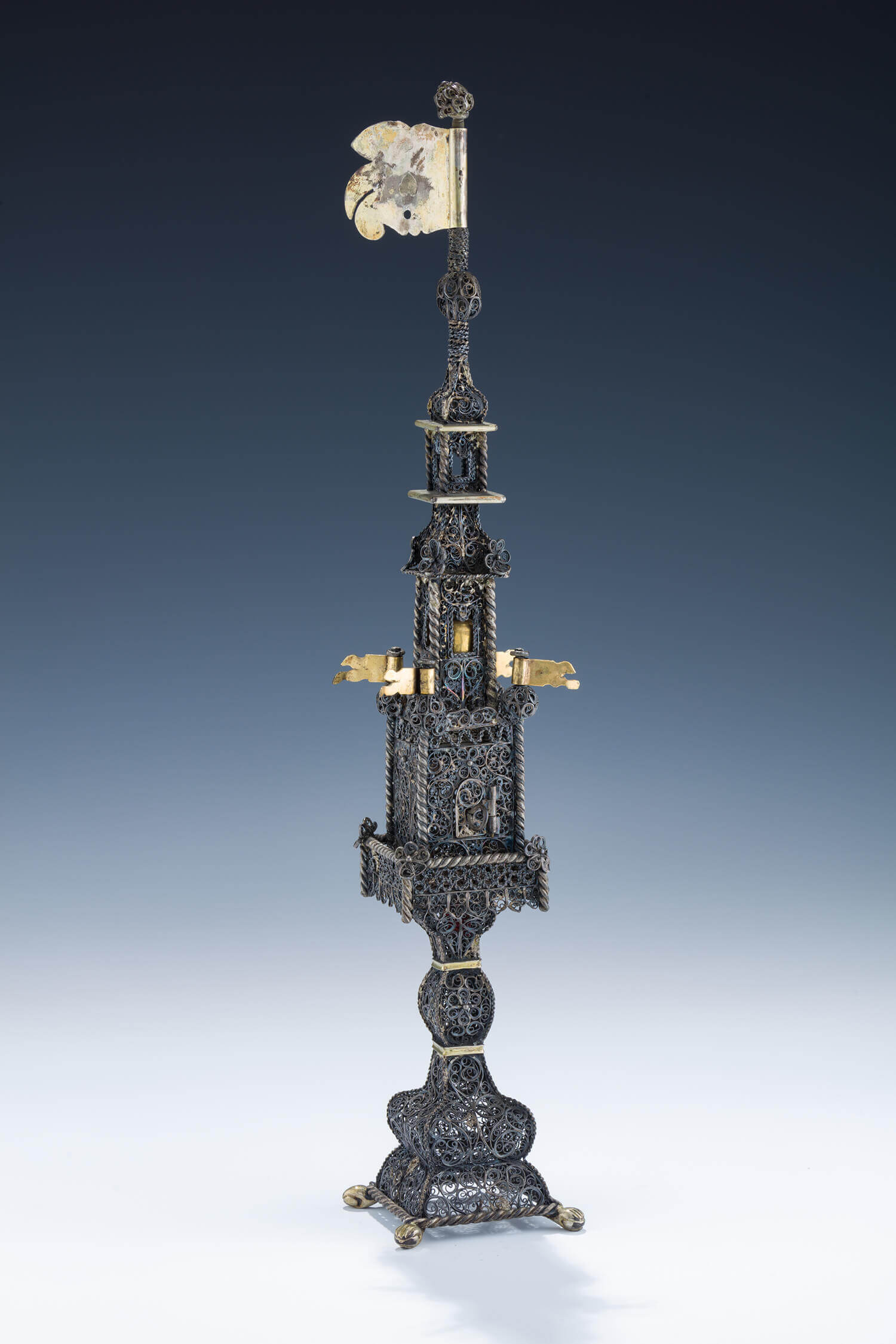 084. A MASSIVE SILVER SPICE TOWER