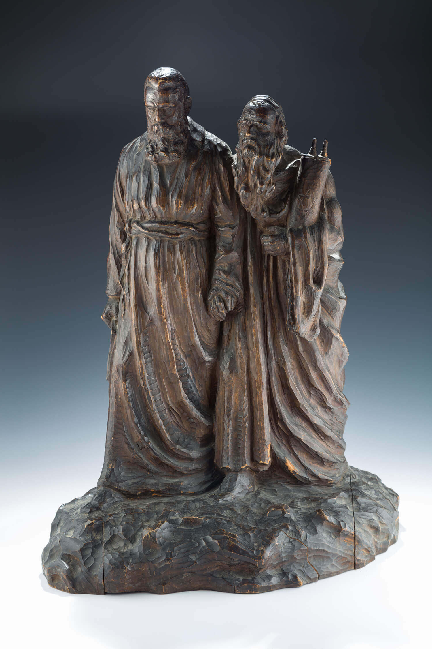 068. A LARGE WOODEN SCULPTURE OF THEODOR HERZL LEADING MOSES TO THE PROMISED LAND