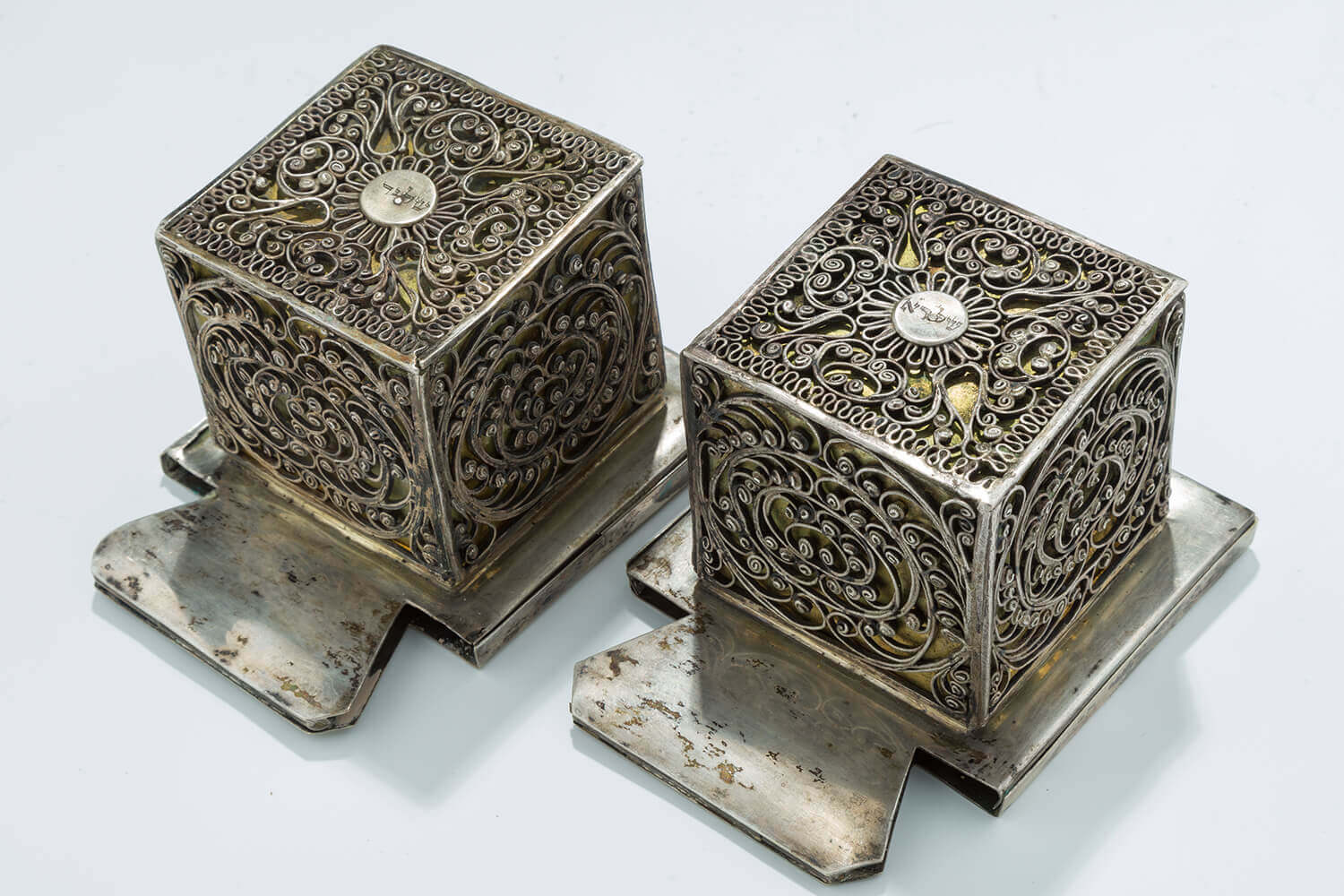 072. A LARGE AND MAGNIFICENT PAIR OF SILVER TEFILLIN CASES