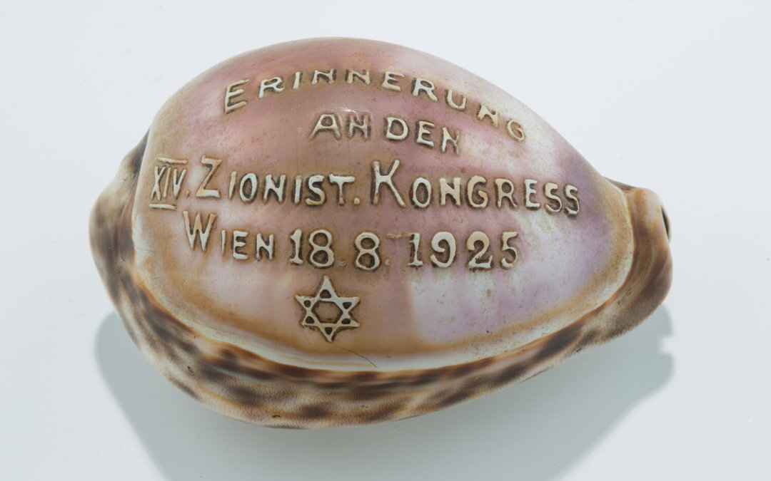 003. A CARVED COWRY SHELL COMMORATING THE 14TH ZIONIST CONGRESS IN VIENNA