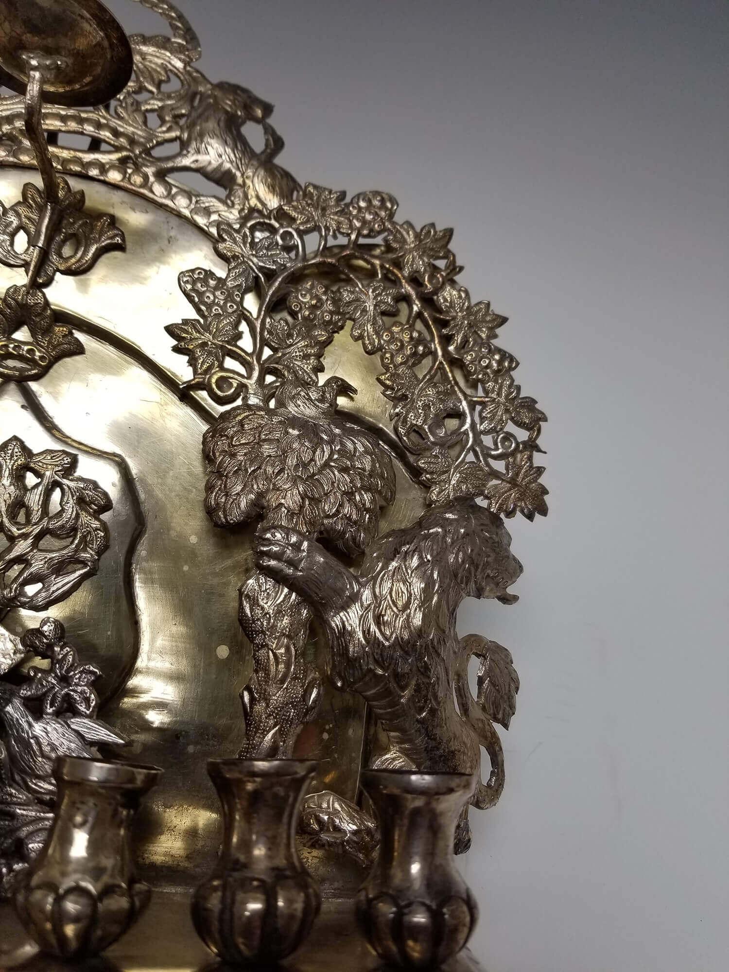 A Large Silver Hanukkah Lamp